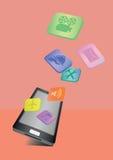 Färgrika symboler som flyger ut ur mobiltelefonen Royaltyfri Bild
