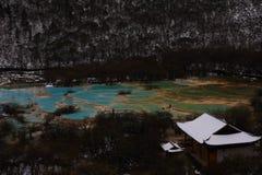 Färgrika talpatatedamm efter den första snön arkivbilder