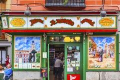 Färgrika Tapas Bar Tavern Madrid Spain arkivfoton
