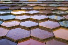 Färgrika tegelplattor för Zsolnay honungskakatak Arkivbild