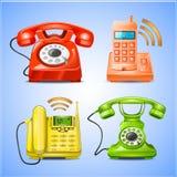 Färgrika telefonsymboler Royaltyfri Foto