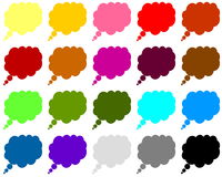 Färgrika thougthbubblor Arkivbilder