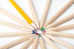 Färgrika träblyertspennor på vit bakgrund Royaltyfri Foto