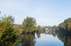 Färgrika träd på bankerna av en flod Royaltyfri Fotografi