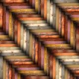 Färgrika trätegelplattor på golvet Arkivfoton