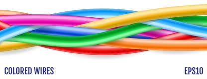 färgrika trådar teknologi för planet för telefon för jord för binär kod för bakgrund kulöra trådar Vektor dåligt stock illustrationer