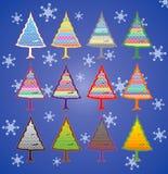 färgrika trees för jul Arkivbilder
