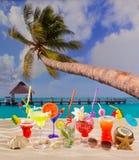 Färgrika tropiska coctailar på stranden på vit sand Royaltyfria Foton