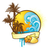 färgrika tropiska designelement Arkivbilder
