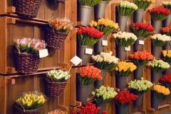 Färgrika tulpan på försäljning i den Amsterdam blomman marknadsför Tulpan blommar från till salu Holland, Amsterdam den blom- mar Royaltyfri Bild