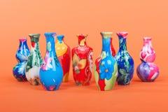 Färgrika vases Fotografering för Bildbyråer