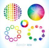 Färgrika vattenfärgfärgstänk på vit bakgrund Arkivfoto