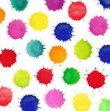 Färgrika vattenfärgfärgstänk som isoleras på vit bakgrund Royaltyfri Fotografi