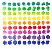 90 färgrika vattenfärgfärgstänk som isoleras på vit bakgrund Arkivfoton