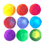 Färgrika vattenfärgfläckar som isoleras på vit bakgrund Fotografering för Bildbyråer