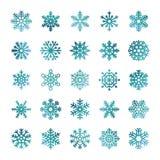 Färgrika vektorsnöflingor som isoleras på vit bakgrund royaltyfri illustrationer