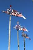 Färgrika vindflöjlar royaltyfria foton