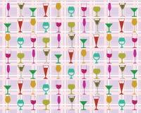 Färgrika vinexponeringsglas för sömlös modell Royaltyfri Foto