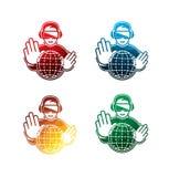 Färgrika virtuell verklighethörlurar med mikrofonsymboler på vit bakgrund isolerade VR-hörlurar med mikrofonsymboler EPS8 Royaltyfri Fotografi