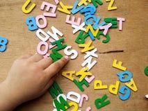 Färgrika wood alfabet royaltyfri bild
