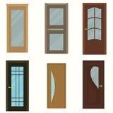 Färgrika ytterdörrar till hus och byggnadsuppsättningen Arkivbild