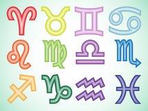 Färgrika zodiaksymboler med lutning, på grön bakgrund royaltyfri illustrationer