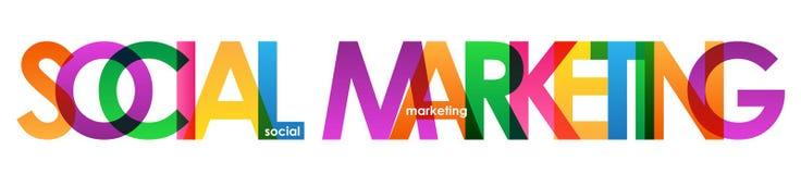 Färgrikt överlappande bokstavsbaner för SOCIAL MARKNADSFÖRING royaltyfri illustrationer