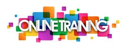 Färgrikt överlappande fyrkantbaner för ONLINE-UTBILDNING royaltyfri illustrationer