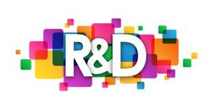 Färgrikt överlappande fyrkantbaner för R&D stock illustrationer