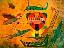 Färgrikt abstrakt konstverk av Fantastical varelser Royaltyfri Foto
