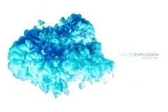 Färgrikt akrylfärgpulver i vatten illustrationen för fractals för explosionen för abstrakt bakgrundsfärg texturerade den digitala Royaltyfri Bild