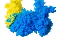 Färgrikt akrylfärgpulver i vatten som isoleras på vit abstrakt bakgrund illustrationen för fractals för explosionen för abstrakt  Arkivbild