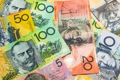 Färgrikt av bakgrund för australiska dollar Royaltyfria Foton