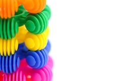 Färgrikt av barnleksaker, gyckel- och utbildningsbegrepp Royaltyfria Bilder