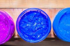Färgrikt av exponeringsglas för Plastisolfärgpulver kunna utom fara på tallskogtabellen för skjorta för utslagsplats för skärmtry royaltyfria bilder