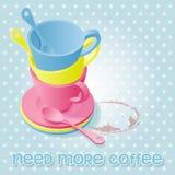 Färgrikt av kaffekoppar Stock Illustrationer