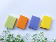 Färgrikt av naturlig olje- tvål Arkivfoton