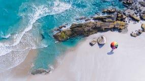 Färgrikt av paraplyet på stranden Royaltyfri Bild