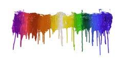 Färgrikt av plastisolfärgpulver dryper förbi i motsatta riktningar fotografering för bildbyråer