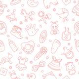 Färgrikt av sömlös modell av barnleksaker och olika barnbeståndsdelar i rosa färger royaltyfri illustrationer