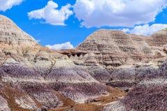 Färgrikt Badlandsbildande i Arizona ` s målade ökennationalparken Arkivbild