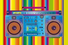Färgrikt band för tappningghettoblasterkassett Arkivbild