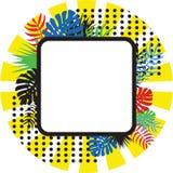 Färgrikt baner av tropiska sidor i stil för popkonst Ljust färgar Försäljningsbaner, ram, inbjudan Royaltyfria Bilder
