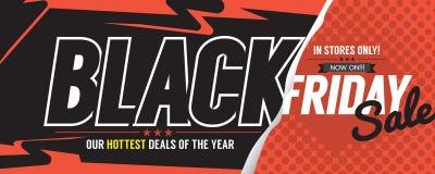 Färgrikt baner för Black Friday Sale marknadsföringsbefordran stock illustrationer