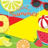 Färgrikt baner för mall för utrymme för kopia för sommartemabakgrund royaltyfri illustrationer