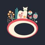 Färgrikt baner med katten och blommor på mörk bakgrund Arkivbilder