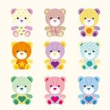 Färgrikt behandla som ett barn björnen med den olika modellen Stock Illustrationer