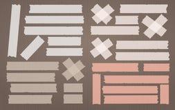 Färgrikt bindemedel, klibbigt som maskerar, remsor för kanalband för text på ljus - brun bakgrund också vektor för coreldrawillus stock illustrationer