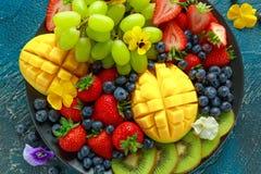 Färgrikt blandat fruktuppläggningsfat med mango, jordgubben, blåbäret, kiwin och gräsplandruvan sund mat royaltyfri foto