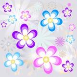 färgrikt blom- för bakgrund stock illustrationer